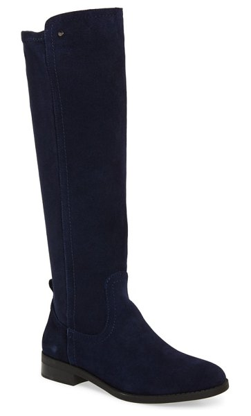 Very Volatile anchor knee high boot in navy leather