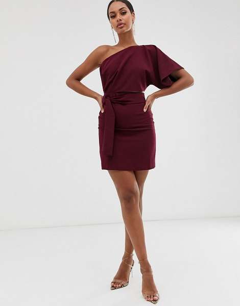 Vesper one shoulder mini dress with cut out and tie detail in rasberry-red in red