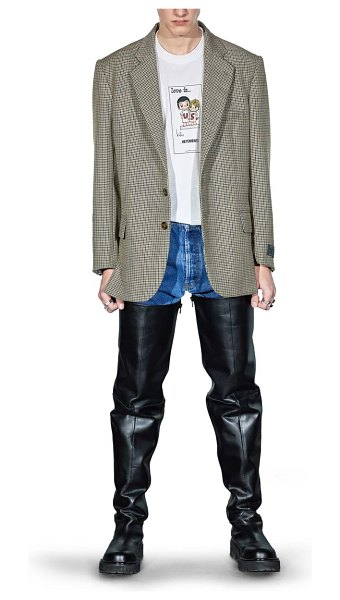 VETEMENTS houndstooth wool blend jacket in black/ white check