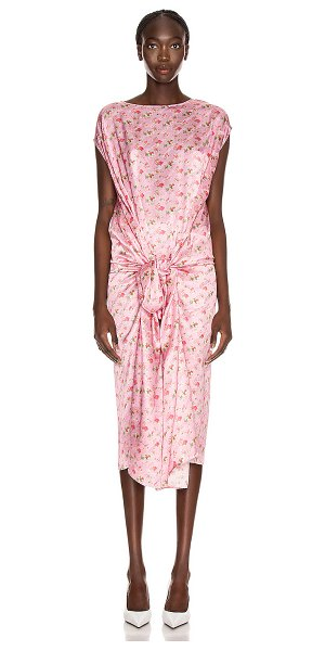 VETEMENTS lining dress in pink flowers