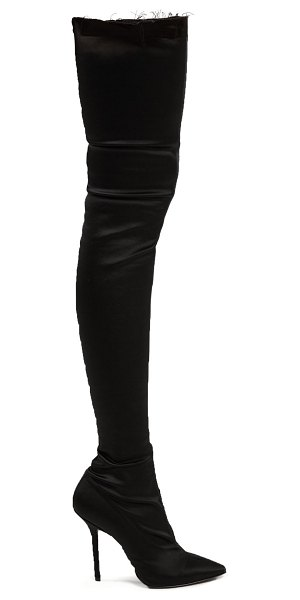 6e47f036f92 VETEMENTS Thigh-High Satin Boots in Black