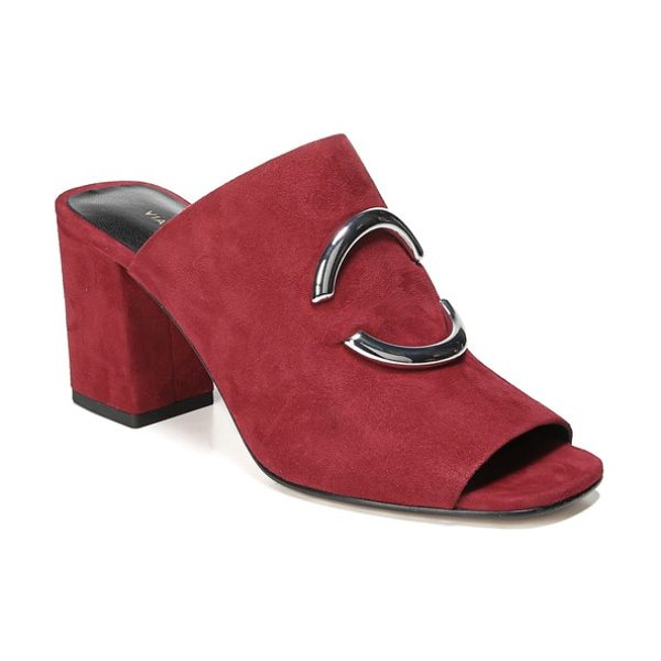 Via Spiga eleni slide sandal in ruby suede - Polished metallic bars form a circle at the vamp of a...