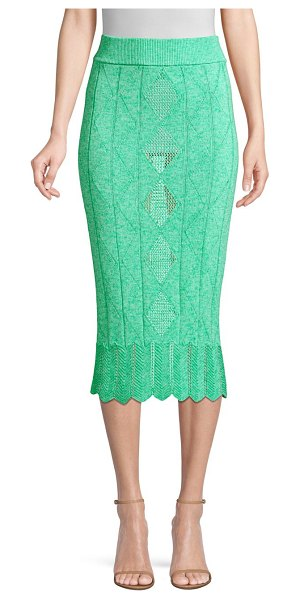 Victor Glemaud Crochet Midi Pencil Skirt in mint