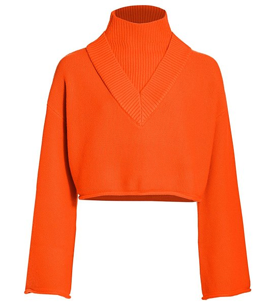 Victor Glemaud highneck bell-sleeve knit wool sweater in orange