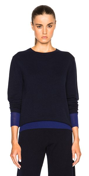 VICTORIA BECKHAM Cashmere Silk Trim Crewneck Sweater - 90% cashmere 10% silk.  Made in Italy.  Dry clean only. ...