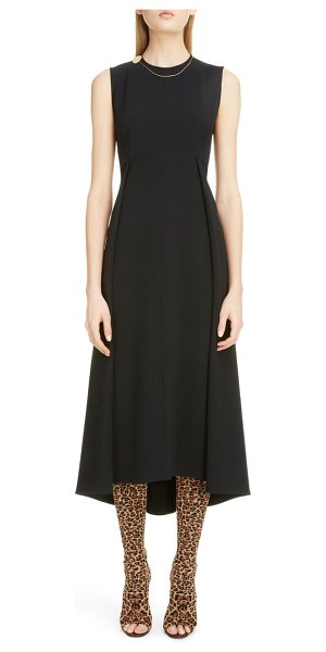 Victoria Beckham chain detail pleated cady midi dress in black