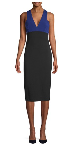 Victoria Beckham Colorblock Sleeveless Sheath Dress in deep blue - From-fitting dress finished with colorblock design. Deep...
