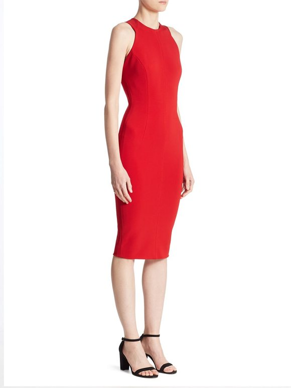 VICTORIA BECKHAM Cutout Back Sheath Dress in red - Fitted sleeveless dress with chic back cutouts....