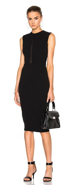 Victoria Beckham Double Crepe Sleeveless Sheer Inset Dress in black - Self: 50% silk 50% wool - Contrast Fabric: 94% silk 6%...