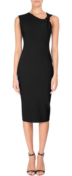 Victoria Beckham Knotted Sleeveless Sheath Dress in black - Victoria Beckham dress in stretch cady. Asymmetric...