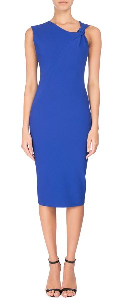 Victoria Beckham Knotted Sleeveless Sheath Dress in dark blue - Victoria Beckham dress in stretch cady. Asymmetric...