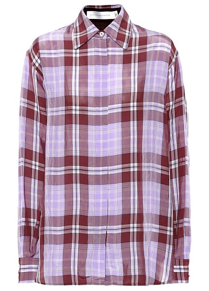 Victoria Beckham Plaid shirt in purple - Cut in a roomy silhouette from smooth fabric, Victoria...