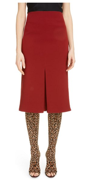 Victoria Beckham pleat detail crepe pencil skirt in bordeaux