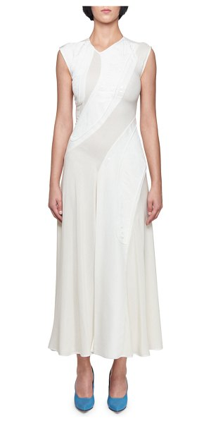 Victoria Beckham Sleeveless Asymmetric Jacquard Dress in off white - Victoria Beckham asymmetric jacquard dress. High...