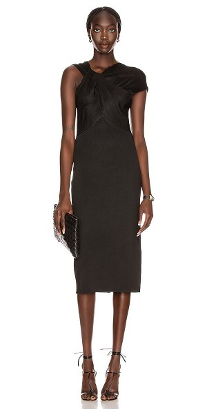 Victoria Beckham twist drape fitted dress in black