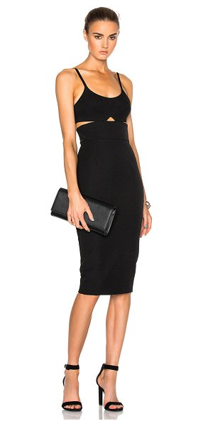 Victoria Beckham Wool Gabardine Rib Cut Out Fitted Dress in black - Self: 100% wool - Contrast Fabric: 86% viscose 10% poly...