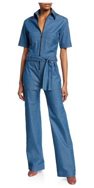 Victoria by Victoria Beckham Collared Zip-Front Jumpsuit in blue
