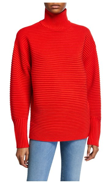 Victoria by Victoria Beckham Curved-Sleeve Turtleneck Sweater in red