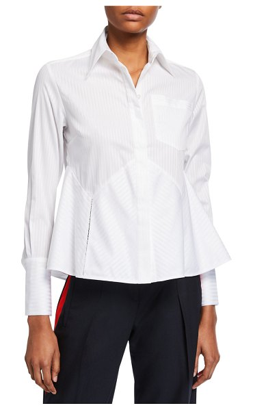 Victoria by Victoria Beckham Flounce-Hem Striped Shirt in white