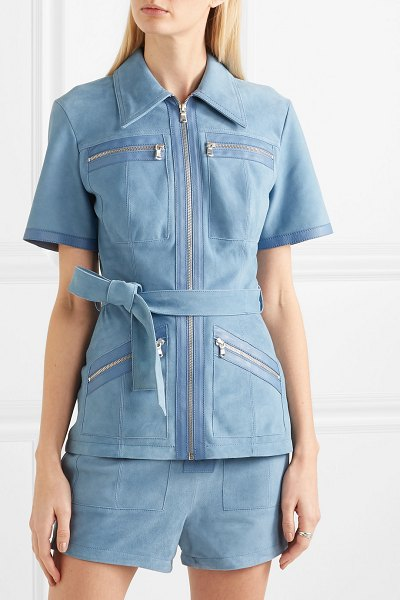 Victoria by Victoria Beckham leather-trimmed suede shirt in blue - Designed to be worn with the matching shorts, Victoria,...