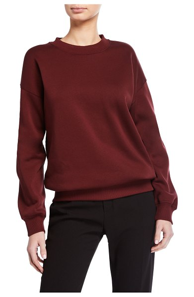 Victoria by Victoria Beckham Logo Tape Crewneck Sweatshirt in brown