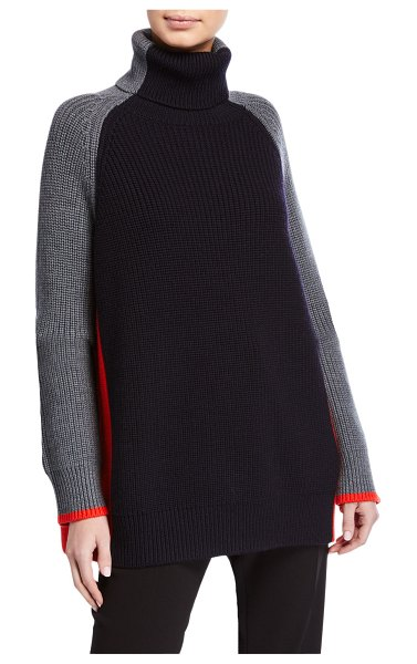 Victoria by Victoria Beckham Oversized Turtleneck Colorblock Sweater in gray