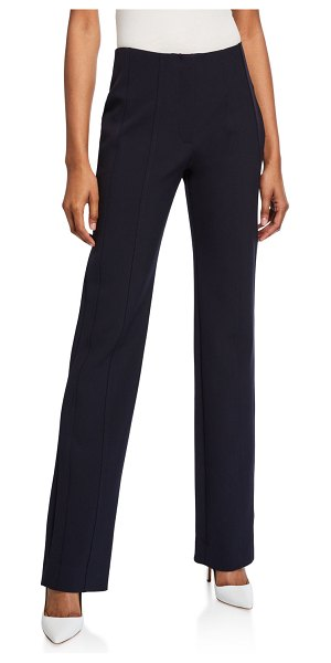 Victoria by Victoria Beckham Paneled Straight-Leg Trousers in dark blue