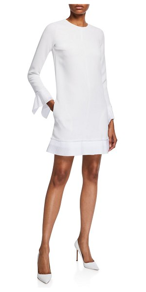 Victoria by Victoria Beckham Pleated-Trim Long-Sleeve Shift Dress in white