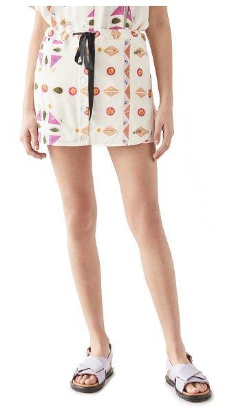 Victoria by Victoria Beckham printed pressed botanicals faille skirt in pink/multi