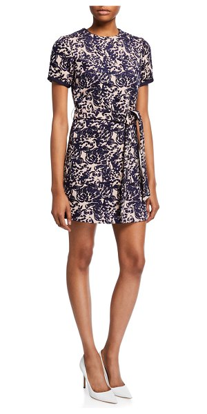Victoria by Victoria Beckham Printed Short-Sleeve Dress w/ Pocket in dark blue