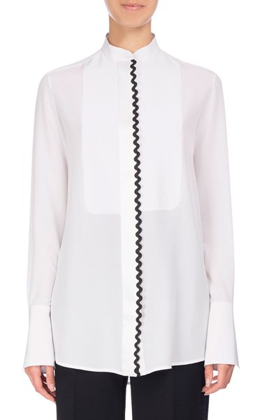 VICTORIA BY VICTORIA BECKHAM Rickrack-Trim Tuxedo Shirt - Victoria Victoria Beckham dress shirt with contrast...