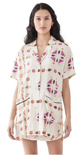 Victoria by Victoria Beckham short sleeve patch pocket paper shirt in pink/multi