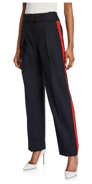 Victoria by Victoria Beckham Side-Striped Belted Trousers in dark blue