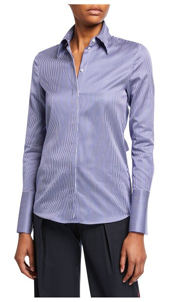 Victoria by Victoria Beckham Striped Bow-Back Shirt in white/blue