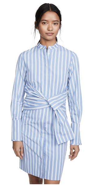 Victoria by Victoria Beckham striped shirt dress with tie in mid blue/white