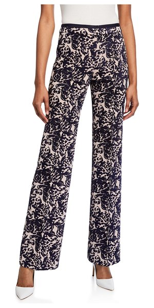 Victoria by Victoria Beckham Tapestry Flared Trousers in dark blue
