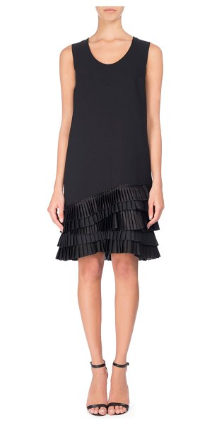 VICTORIA BY VICTORIA BECKHAM U-Neck Shift Dress with Pleated Ruffle Hem - Victoria Victoria Beckham shift dress with pliss-pleated...