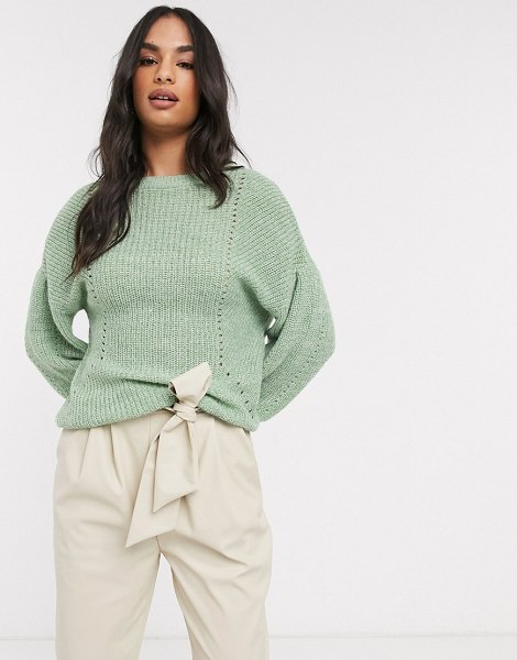 Vila knitted sweater with balloon sleeve in green-multi in multi