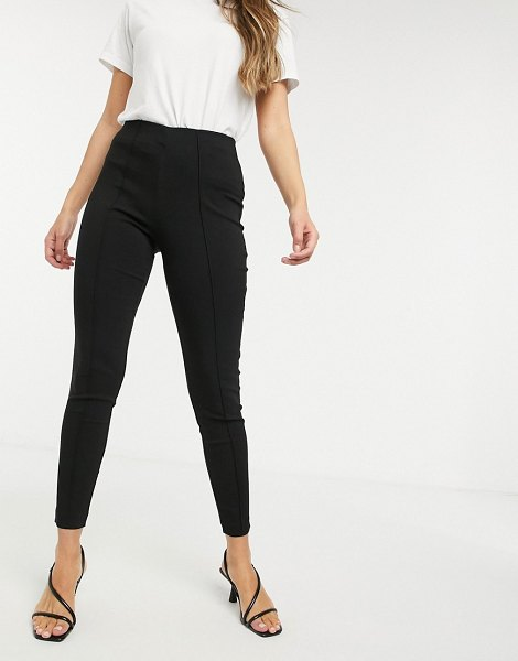 Vila leggings with seam detail in black in black