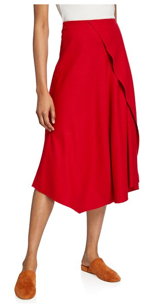 Vince Asymmetric Drape Skirt in red