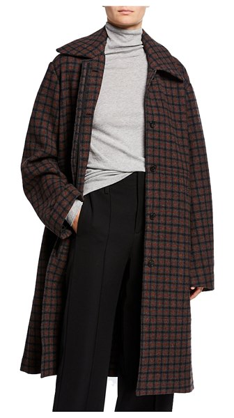 Vince Belted Check Wool Coat in multi