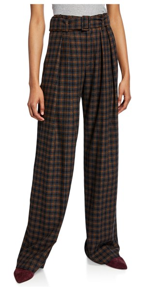 Vince Belted Plaid Wide-Leg Pants in multi