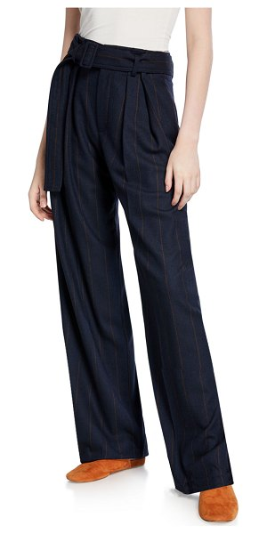 Vince Belted Wide-Leg Pinstripe Pants in navy