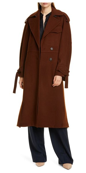 Vince belted wool blend trench coat in mahogany