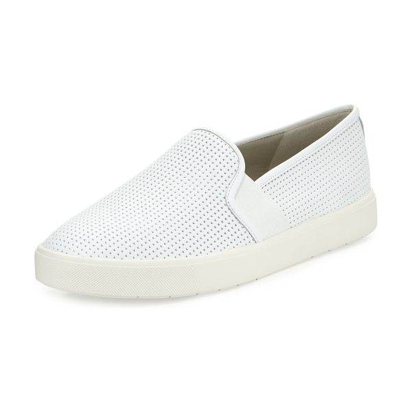 Vince Blair 5 Perforated Slip-On Sneakers in white