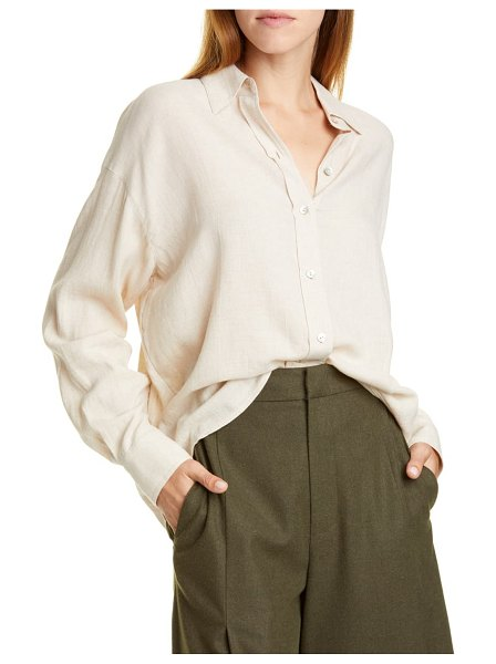 Vince boxy button-up blouse in dove oat