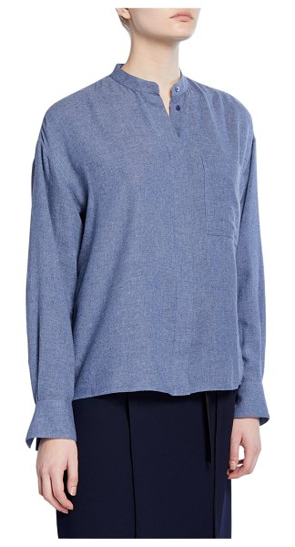 Vince Button-Down Collared Shirt in blue