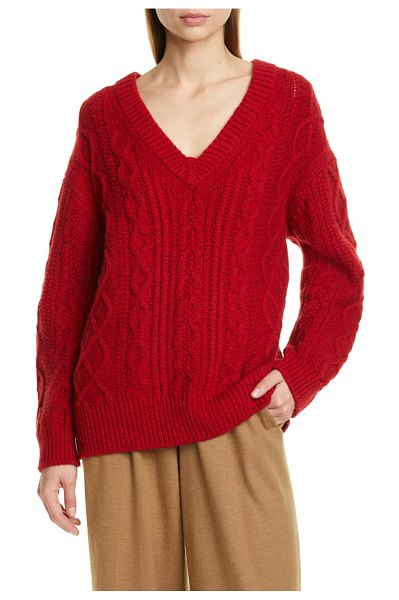 Vince cable merino wool & cashmere blend sweater in cherry