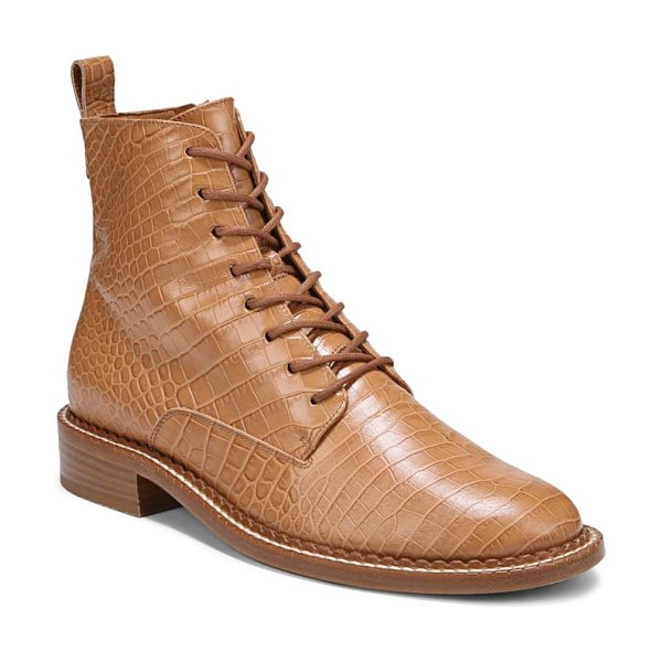 Vince cabria lace-up boot in tan croc
