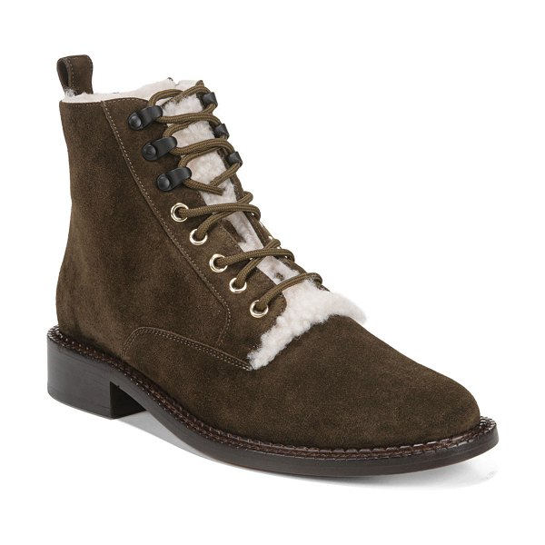 Vince Cabria Lace-Up Booties with Fur Trim in brown